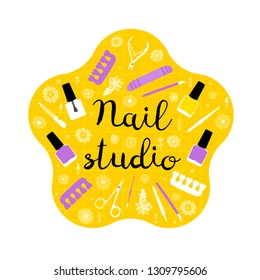 Nail studio. Modern flat manicure concept. Vector illustration. Beauty.