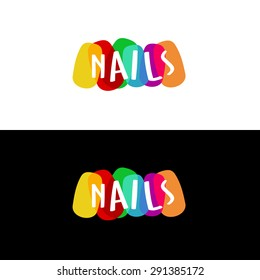 Nails colorful logo.Transparency are flattened.