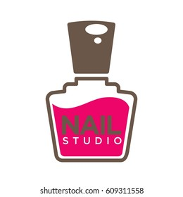Nails design studio or manicure salon vector logo template. Nail pink or red polish bottle with cap