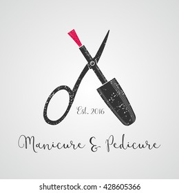 Nails vector logo, emblem, icon. Template design element for business related to nails treatment, manicure, pedicure - salon, spa, tools, lacquers
