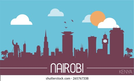 Nairobi city Kenya skyline silhouette flat design vector illustration