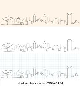 Nairobi Hand Drawn Skyline