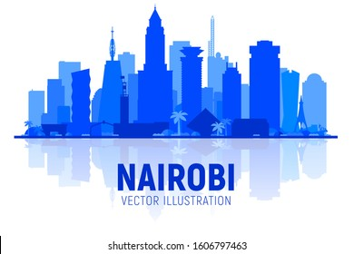 Nairobi Kenya city skyline silhouette at white background. Flat realistic style with famous landmarks and modern scraper buildings. Vector illustration for web or print production.