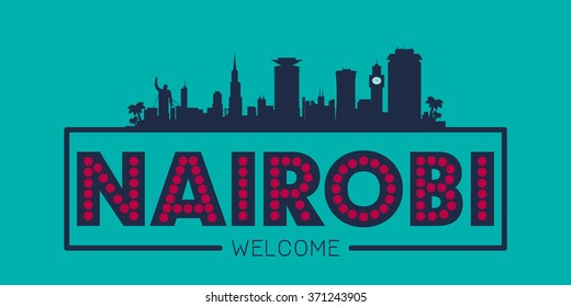 Nairobi Kenya city skyline silhouette vector design
