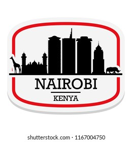 Nairobi Kenya Label Stamp Icon Skyline City Design Tourism