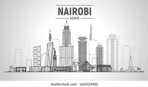 Nairobi Kenya line skyline at white background. Flat realistic style with famous landmarks and modern scraper buildings. Vector illustration for web or print production.