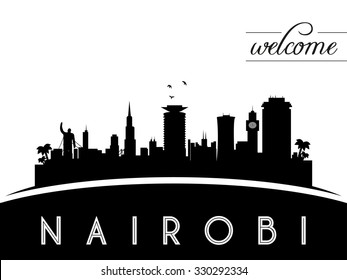 Nairobi Kenya skyline silhouette, black and white design, vector illustration
