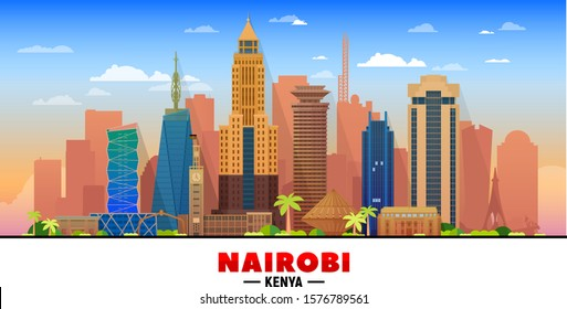 Nairobi Kenya skyline at sky background.  Flat realistic style with famous landmarks and modern scraper buildings. Vector illustration for web or print production.