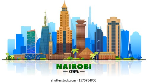 Nairobi Kenya skyline at white background.  Flat realistic style with famous landmarks and modern scraper buildings. Vector illustration for web or print production.
