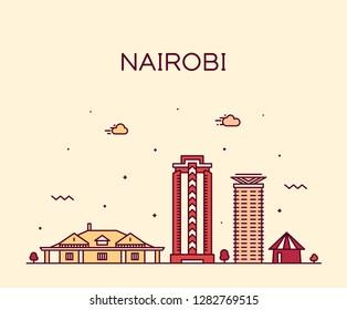 Nairobi skyline, Kenya. Trendy vector illustration, linear style