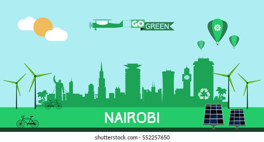 Nairobi skyline silhouette flat design vector, green city concept