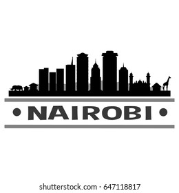 Nairobi Skyline Silhouette Skyline Stamp Vector City Design