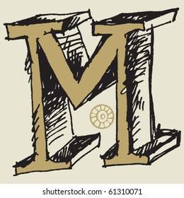 naive 3D alphabet, hand drawn letter M