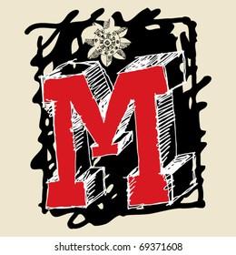 naive 3D alphabet, scribble letter M