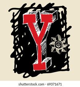 naive 3D alphabet, scribble letter Y