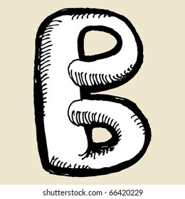 naive alphabet, hand drawn letter B