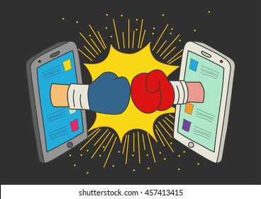 Naive art or cartoon illustration of clashed two boxing gloves coming out from smart phone monitors, concept for social media fight