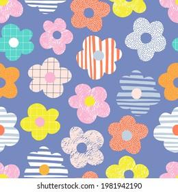 Naive childish textured flower in vibrant rainbow colours vector seamless pattern. Summer floral Scandinavian nursery print design