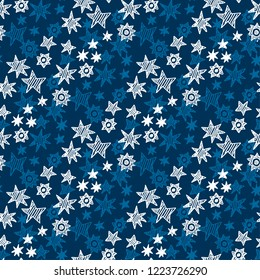 Naive hand drawn star and snowflakes seamless pattern. Xmas  holiday simple motif. Christmas wrapping paper design.