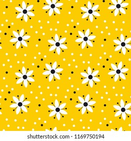 Naive simple yellow geometric flower seamless pattern. Naive summer bright gold floral repeatable motif. Fabric rapport with black and white decorative flowers.