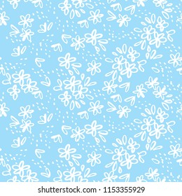 Naive sketch simple meadow flowers seamless pattern. Laconic floral repeat motif for background, wrapping paper, fabric, surface design
