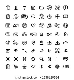 Naive style icon set. Doodle ink Set of icons with elements for mobile concepts and web apps. Vector hand drawn naive style line icons