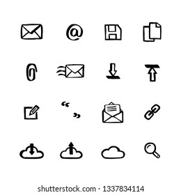 Naive style icon set. Mail services Doodle ink style Set of icons. Vector hand drawn naive style line icons.