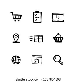 Naive style shopping icon set. E-commerce, online shopping and delivery Doodle ink style Set of icons. Vector hand drawn naive style line icons.