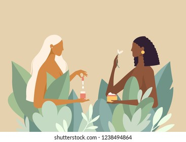 Naked beautiful women in big leaves. African American and blonde. They use organic natural cosmetics creams for body care and beauty. Vector illustrations in flat design style