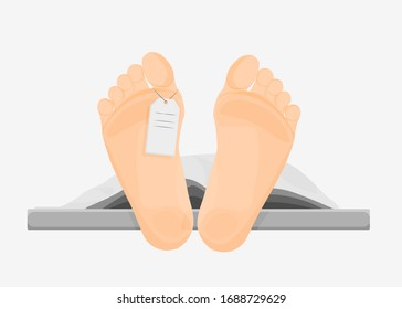 Naked cartoon human feet with tag cover sheet vector graphic illustration. Foot of barefoot person dead body cadaver lying at morgue ready to autopsy isolated on white background