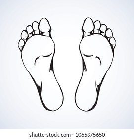 Naked flatfoot on light backdrop. Freehand line black ink hand drawn healthcare logo emblem sketchy in retro art scribble contour style pen on paper. Closeup bottom macro view with space for text