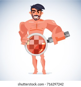 Naked man handling magnifier at his penis with censored skin. healthcare for sex or check your penis concept - vector illustration