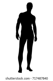 Naked man vector silhouette, contour human, outline portrait muscular male athlete standing front side full-length in underwear isolated on white background, black and white monochrome illustration