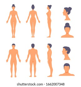 Naked man and woman standing in full length with no face. Front, side, back view. Vector cartoon simple flat style illustration set isolated on a white background.