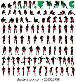 Naked mens silhouette set 100 items. Very smooth and detailed with color hairstyle. Vector illustration.