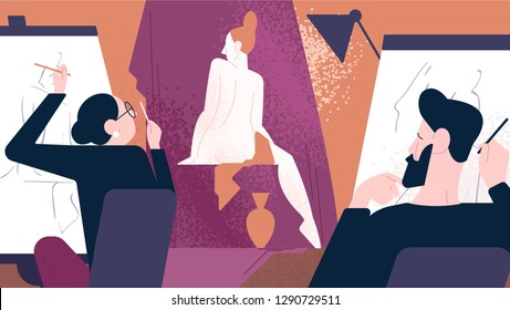 Naked model posing for male and female artists while they sitting at easels and drawing her. Art school, studio or class, artistic work. Colorful vector illustration in modern flat cartoon style.