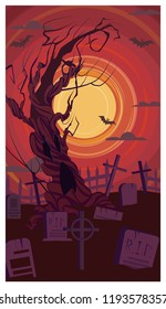Naked old tree growing on graveyard vector illustration. Tombstones and crosses on cemetery against red sunset. Mystery concept
