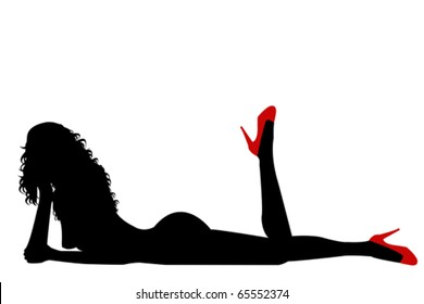 Naked sexy woman silhouette with red shoes