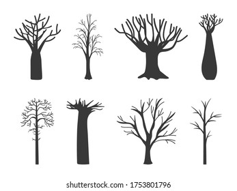 Naked tree. Winter trees silhouette, dead nature and empty black trunks. Simple dry bare branched forest plant vector illustration