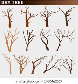 Naked trees silhouettes set, dry trees