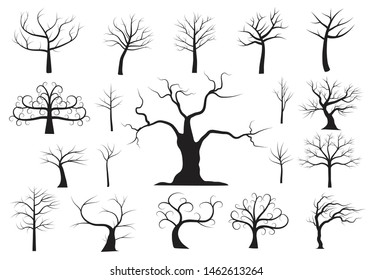 Naked trees silhouettes vector set