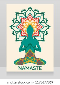 Namaste banner with lady in lotus asana on mandala ornament, bright indian colors, vector illustration