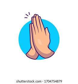 Namaste Hand Sign Gesture Vector Icon Illustration. No Hand Shake Vector. Health And Medical Icon Concept White Isolated. Flat Cartoon Style Suitable for Web Landing Page, Banner, Flyer, Sticker