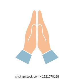 Namaste hands greeting symbol isolated on white background