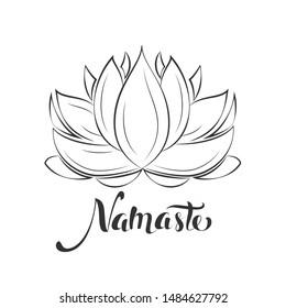 Namaste sign. Hello in hindi. Lotus flower isolated on white background. Motivational positive quote. Yoga center emblem. Vector vintage illustration.