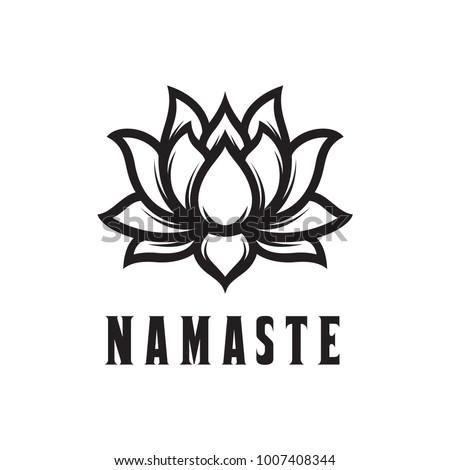 Namaste sign hello hindi lotus flower stock vector royalty free hello in hindi lotus flower isolated on white background motivational positive mightylinksfo