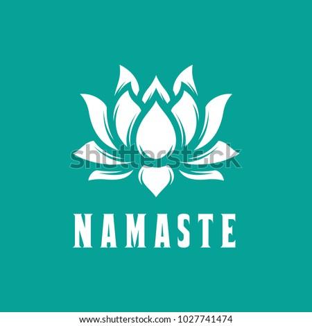Namaste sign hello hindi lotus flower stock vector royalty free hello in hindi lotus flower isolated on turquoise background motivational positive mightylinksfo
