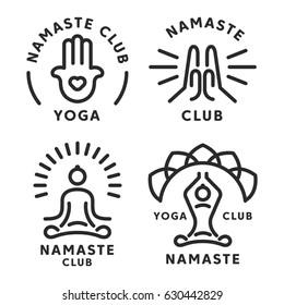 Namaste yoga logo and icon set