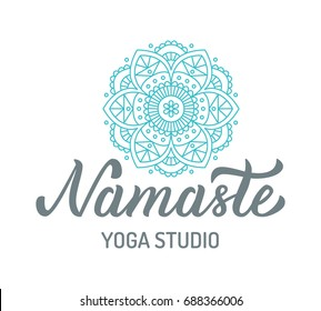 Namaste. Yoga studio logo with mandala isolated on white background. Hand lettering elements. Vector illustration.