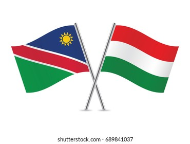 Nambia and Hungary flags.Vector illustration.
